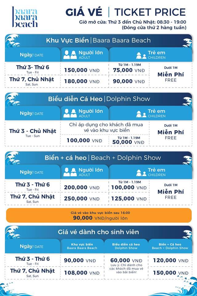 giá vé công viên biển baara land
